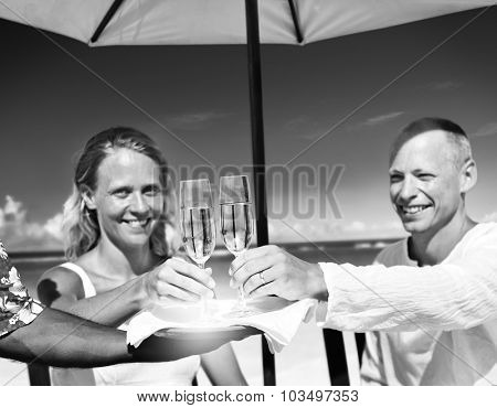 A couple celebrating on the beach Concept
