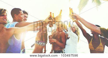 Friends Beach Party Drinks Toast Celebration Concept