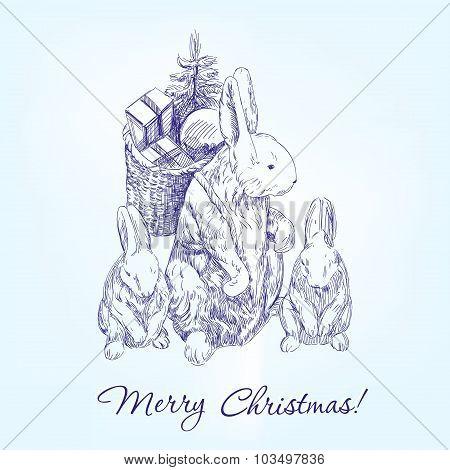 christmas greetings family rabbits  hand drawn vector llustration  sketch