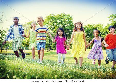 Children Park Friends Friendness Happiness Playful Concept