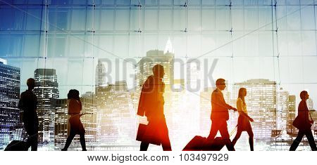 Business People Walking Commuter Rush Hour Concept