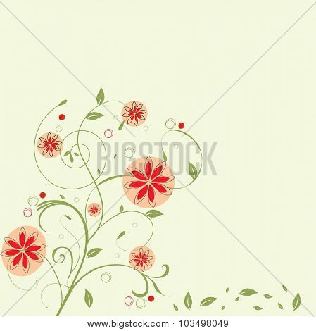 Vintage invitation card with elegant retro abstract floral design