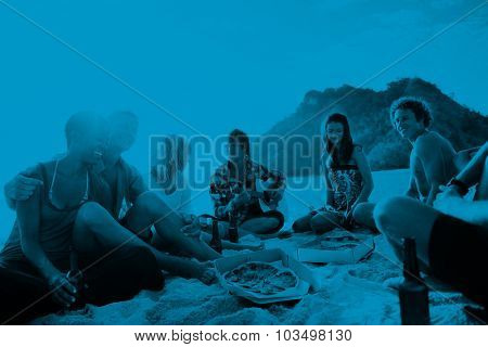 Group of friends having a summer beach party Concept