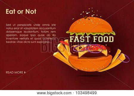 Fast food restaurant poster with beaf meat hamburger emblem