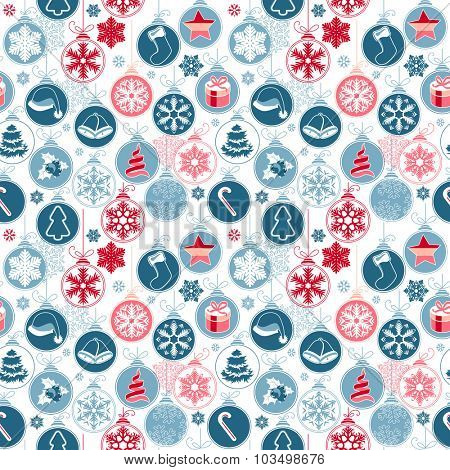 Seamless pattern with festive Christmas decoration - balls and traditional elements. Endless texture for your design,posters, greeting cards, invitations.
