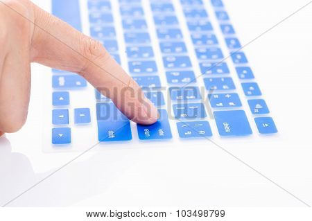 Close Up Woman Finger On Enter Button Blue Keyboard Cover