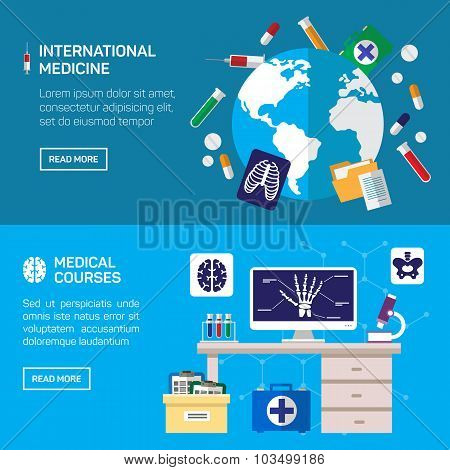 International medicine and medical courses horizontal banner