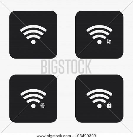 Vector modern wi fi  icons set