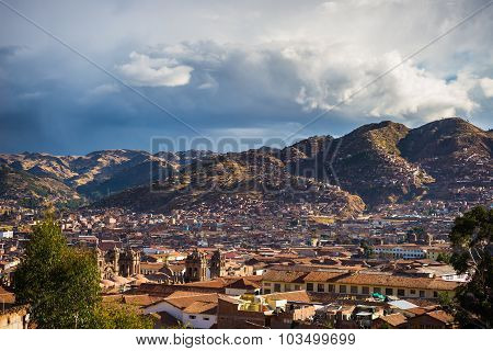Sunset Over Cusco, Peru, With Storm Clouds