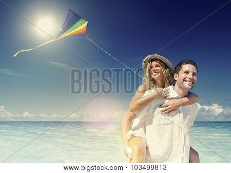 Honeymoon Couple Happiness Summer Beach Concept