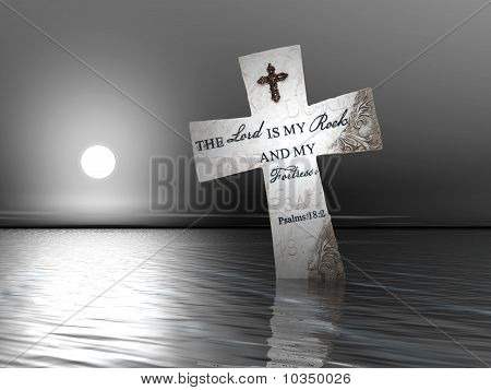 Religious Cross In Water