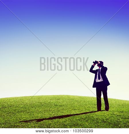 Business man observing nature telescope outdoors Concept