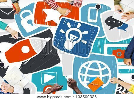 Social Media Start up Strategy Planning Technology Concept