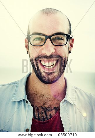 Handsome Man Beach Vacation Lifestyle Portrait Concept