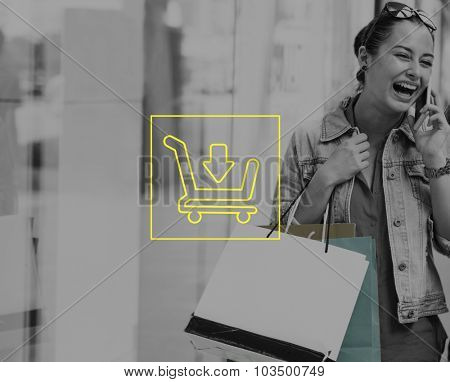 Woman Shopping Outdoors Store Lifestyle Concept