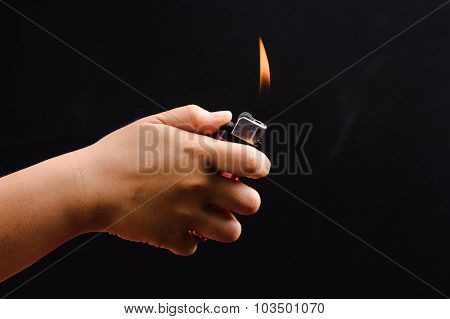 Kid Hand And Lighter