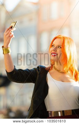 Woman Taking Self Picture With Smartphone Camera