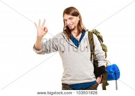 Man Tourist Backpacker Showing Ok Gesture. Travel.