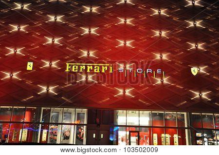 Ferrari store at Festival Centre Mall in Dubai, UAE
