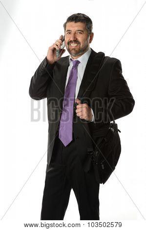 Hispanic Businessman using cellphone isolated over white background