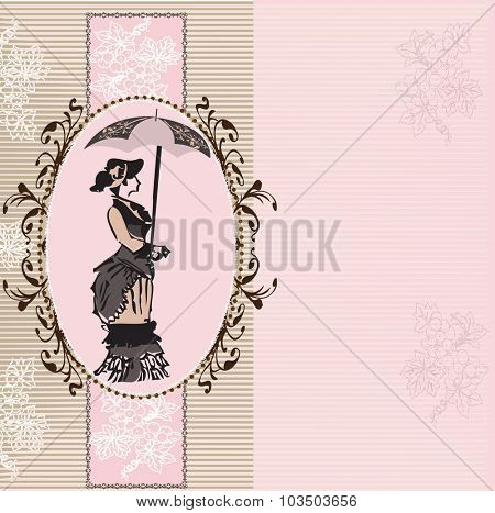 Vintage invitation card with elegant retro abstract floral design with woman holding an umbrella