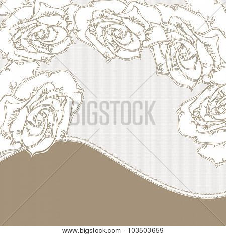 Vintage invitation card with elegant abstract floral design, white rose flowers on gray. Vector illustration.