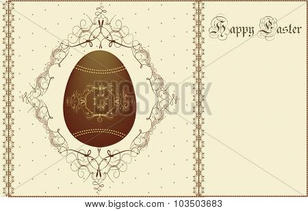 Vintage Easter invitation card with elegant retro abstract design