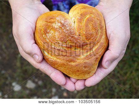 woman holding a bun close up