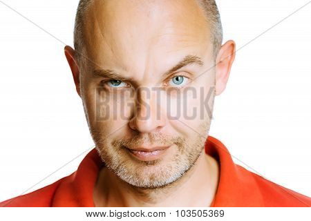 Man Scowling. Isolated On White. Studio
