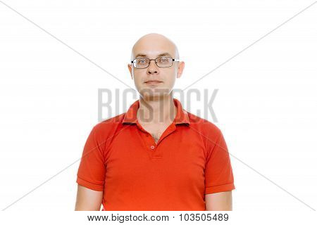 Bald Man With Glasses. Isolated On White