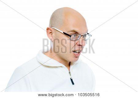 Bald Evil Man. Isolated. Studio
