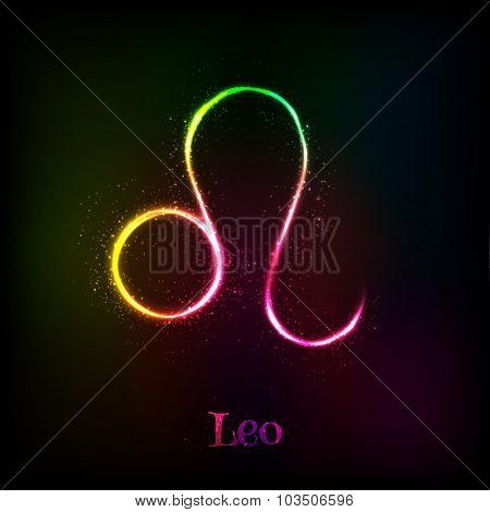 Shining neon zodiac Leo vector symbol