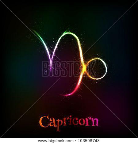 Shining neon zodiac Capricorn vector symbol
