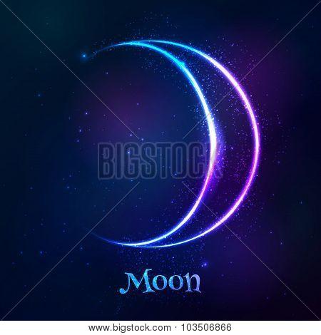 Shining blue neon zodiac Moon  symbol