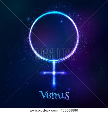 Shining blue neon astrological Venus symbol