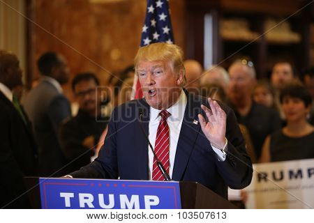 Candidate Donald Trump speaks at press conference