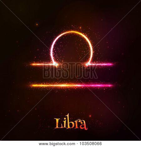 Shining neon zodiac Libra vector symbol