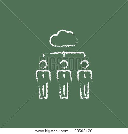 Three businessmen under the cloud hand drawn in chalk on a blackboard vector white icon isolated on a green background.