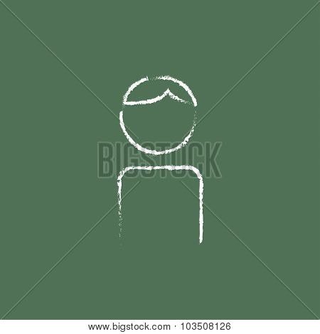 Man hand drawn in chalk on a blackboard vector white icon isolated on a green background.