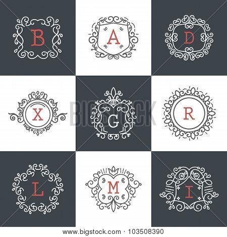 Set Of Vintage Frames For Luxury Logos For Cafe, Shop, Store, Restaurant, Boutique, Hotel, Heraldic,