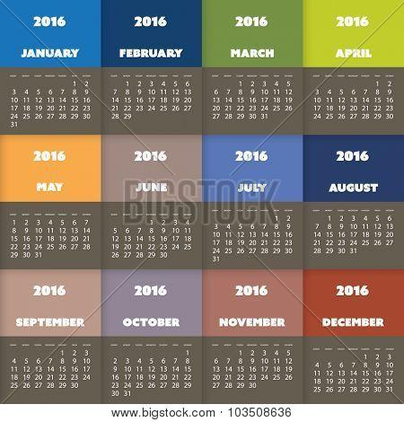 2016 Simple, Colorful Calendar Design