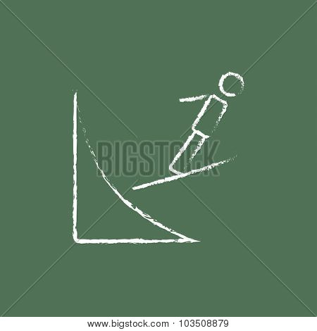 Ski jumping hand drawn in chalk on a blackboard vector white icon isolated on a green background.