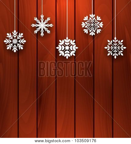 Wooden Background with Variation Snowflakes
