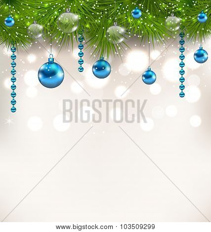 Christmas shimmering background with fir twigs and glass balls