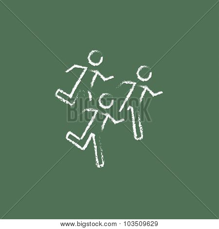 Running men hand drawn in chalk on a blackboard vector white icon isolated on a green background.
