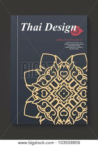 Thai Art Pattern Flyer Design Vector Layout In A4 Size