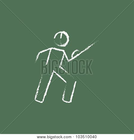 Fencing hand drawn in chalk on a blackboard vector white icon isolated on a green background.