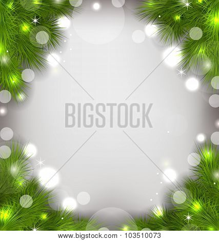 Christmas decorative border from fir twigs, glowing background
