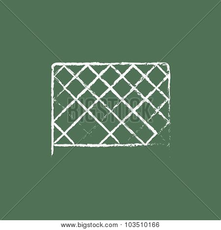 Sports nets hand drawn in chalk on a blackboard vector white icon isolated on a green background.