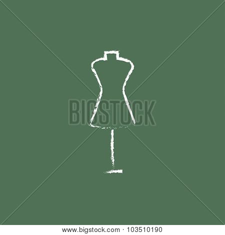 Mannequin hand drawn in chalk on a blackboard vector white icon isolated on a green background.